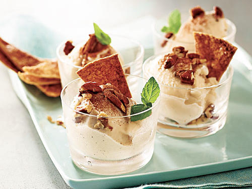 Maple-Pecan Sundaes with Cinnamon Crisps