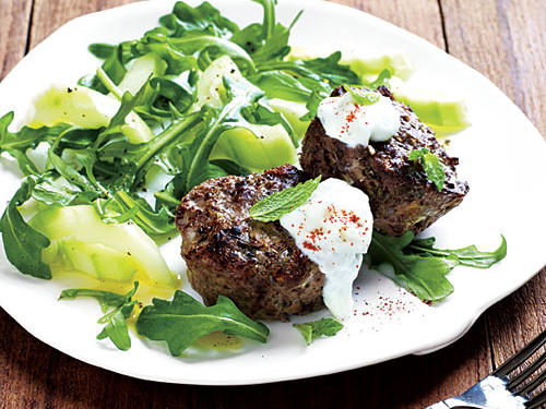 Mini Greek-Style Meat Loaves with Arugula Salad