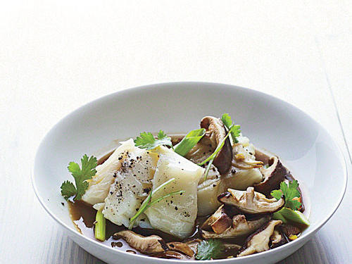 Poached Cod with Shiitakes