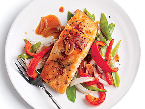1309 Quick Broiled Salmon with Vegetables