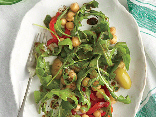Chickpea, Red Pepper, and Arugula Salad