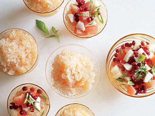 Grapefruit Granita with Pear-and-Pom Relish