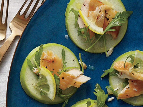 Smoked Trout, Arugula, and Granny Smith Stacks