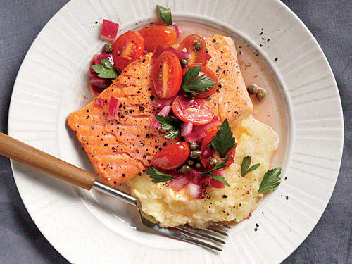 Salmon with Polenta and Warm Tomato Vinaigrette