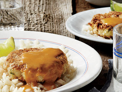 Tilapia Cakes with Mango-Coconut Curry Sauce