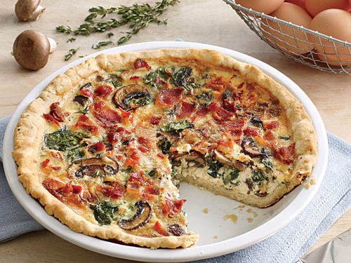 Lighter Spinach-Bacon Quiche