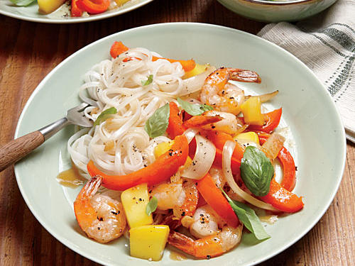 Shrimp-Mango Stir-Fry and Rice Noodles recipe