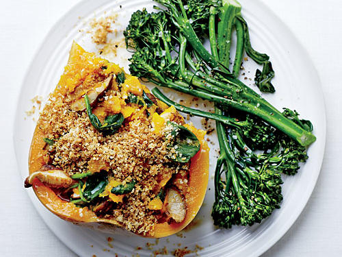 Shiitake-Stuffed Butternut with Quinoa Streusel