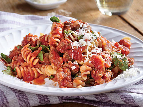 1405 Quick Rotini with Sausage and Tomato Sauce