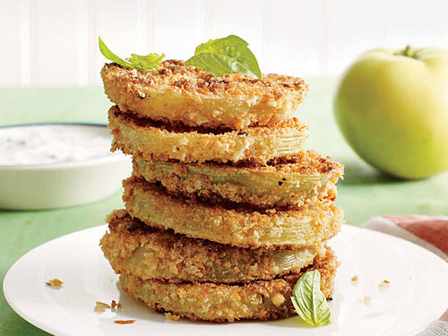 """Lighter """"Fried"""" Green Tomatoes"""