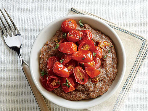 Creamy Gorgonzola Teff with Herb Roasted Tomatoes