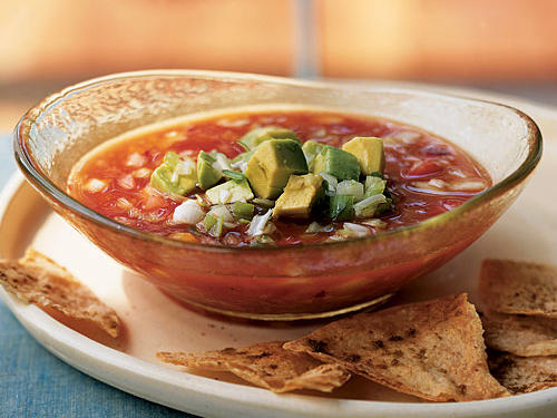 Healthy Gazpacho with Avocado and Cumin Chips Recipe