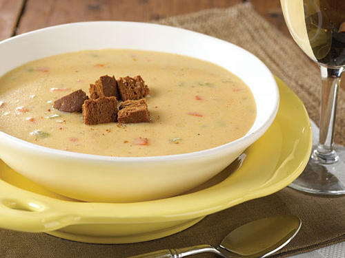 Healthy Canadian Cheese Soup with Pumpernickel Croutons Recipe