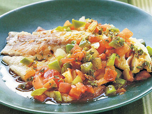 Spicy Louisiana Tilapia Fillets with Sautéed Vegetable Relish