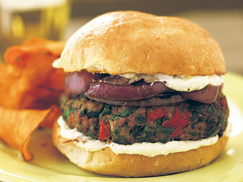 Greek-Style Burgers with Feta Aioli