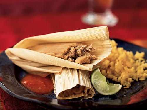 Pork and Ancho Chile Tamales with Mexican Red Sauce
