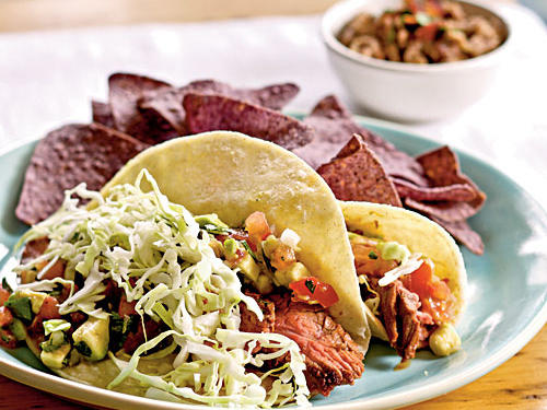 Grilled Flank Steak Soft Tacos with Avocado-Lime Salsa