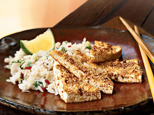 Peanut-Crusted Tofu Triangles