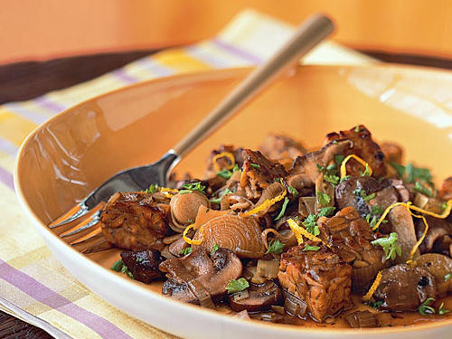 Tempeh and Wild Mushroom Fricassee Vegetarian Recipe