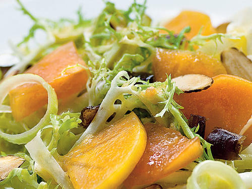 Frisée Salad with Persimmons, Dates, and Almonds