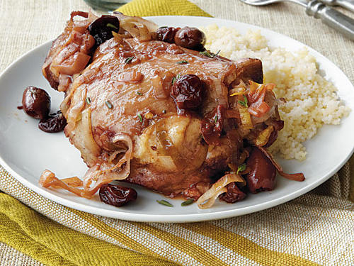 Turkey Thighs with Olives and Dried Cherries