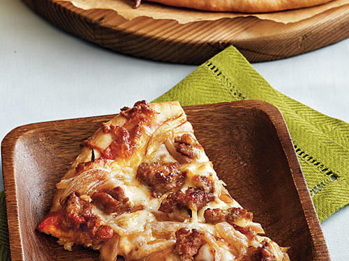 Caramelized Onion and Turkey Sausage Pizza