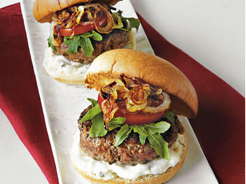 Caramelized Onion-and-Blue Cheese Mini Burgers