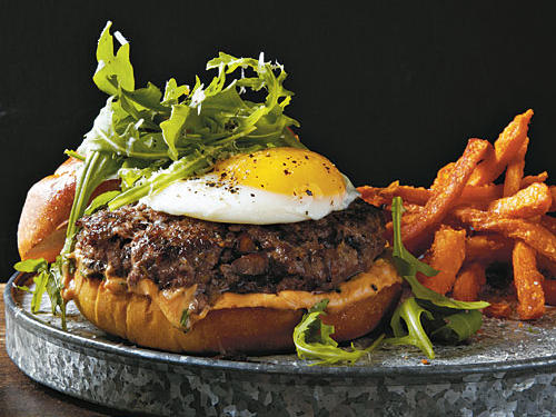 Mushroom Burgers with Fried Egg and Truffle Oil