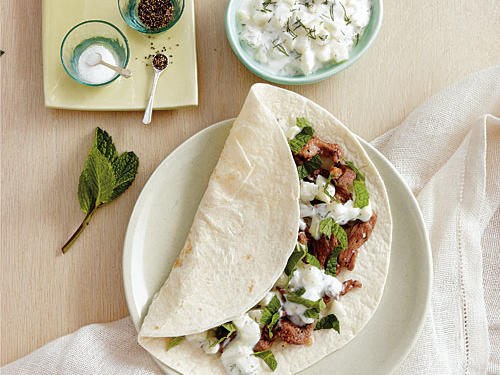 Lamb Fajitas with Cucumber-Dill Sauce