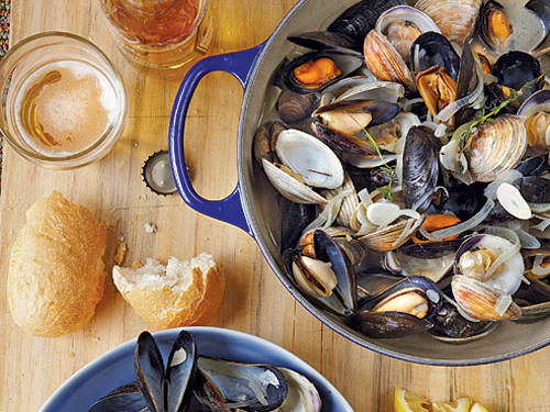 Beer-Steamed Clams and Mussels