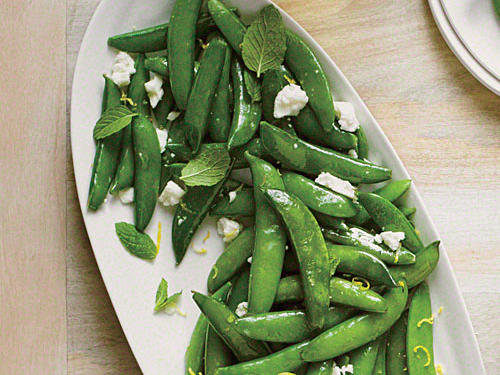 1308 Sautéed Snap Peas with Ricotta Salata and Mint