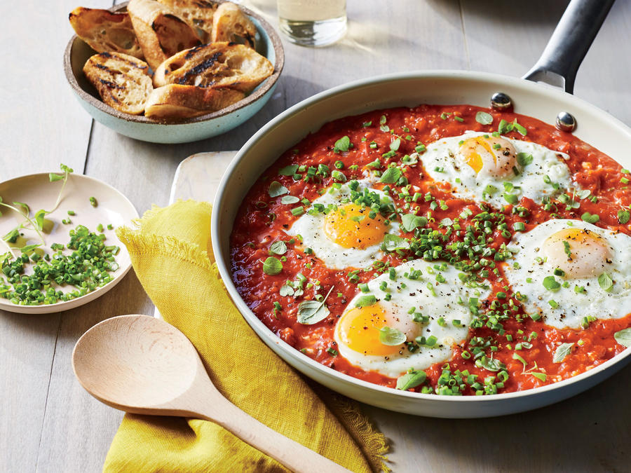 Saucy Skillet Poached Eggs
