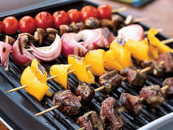 Classic Beef Shish Kebabs prepared on an electric open grill