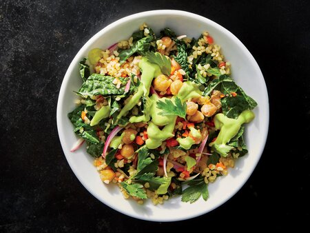 Kale And Chickpea Grain Bowl With Avocado Dressing