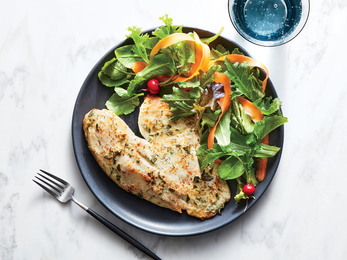 Broiled Tilapia with Yogurt and Herbs