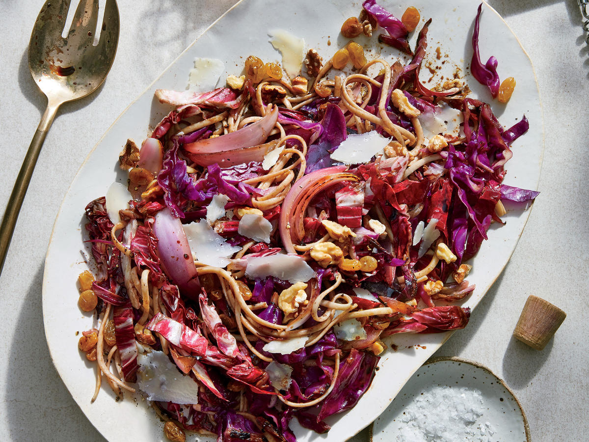 Seared Radicchio and Red Cabbage Pasta with Pickled Raisins