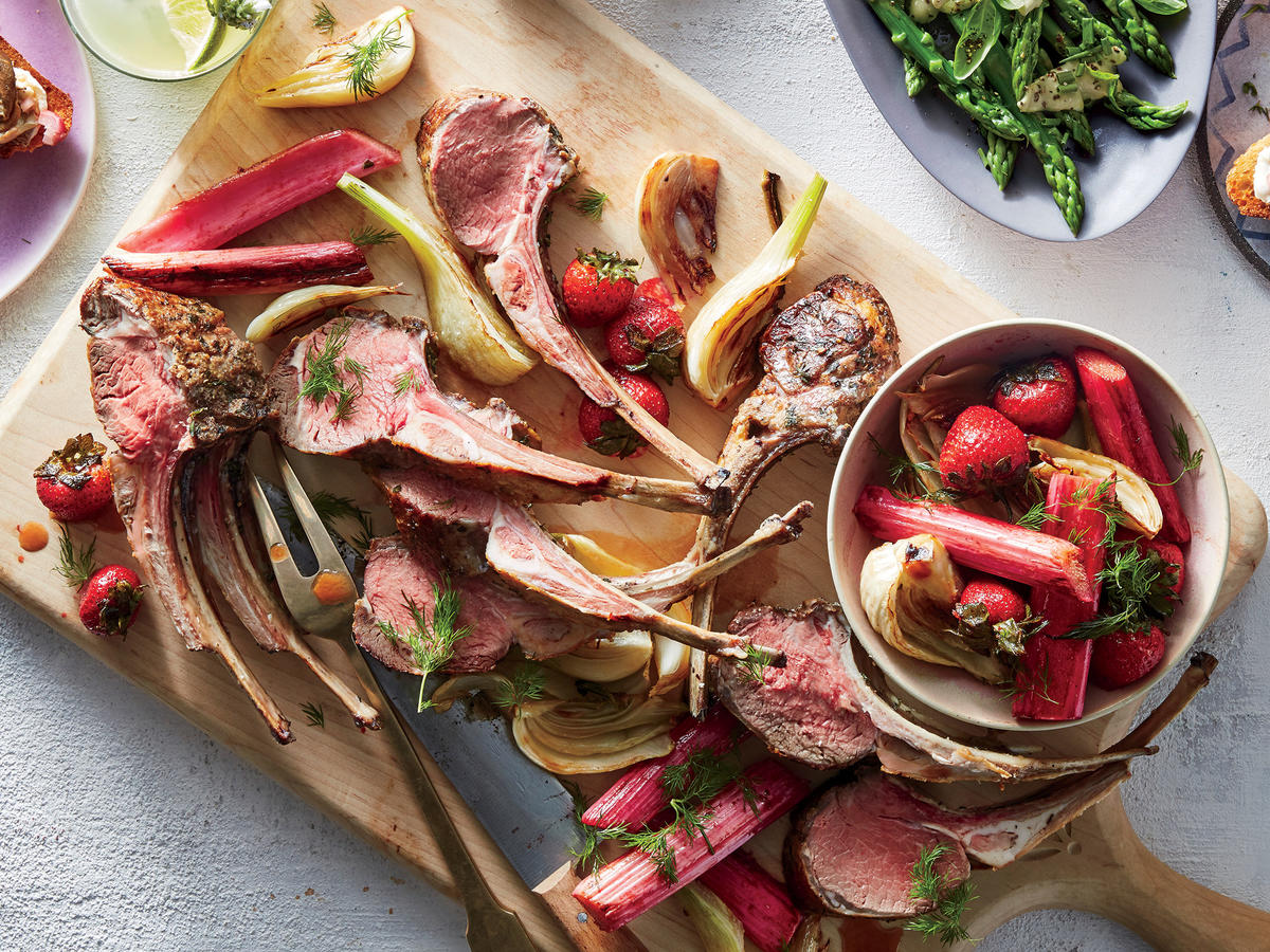 Roasted Spring Lamb with Fennel, Rhubarb, and Strawberries