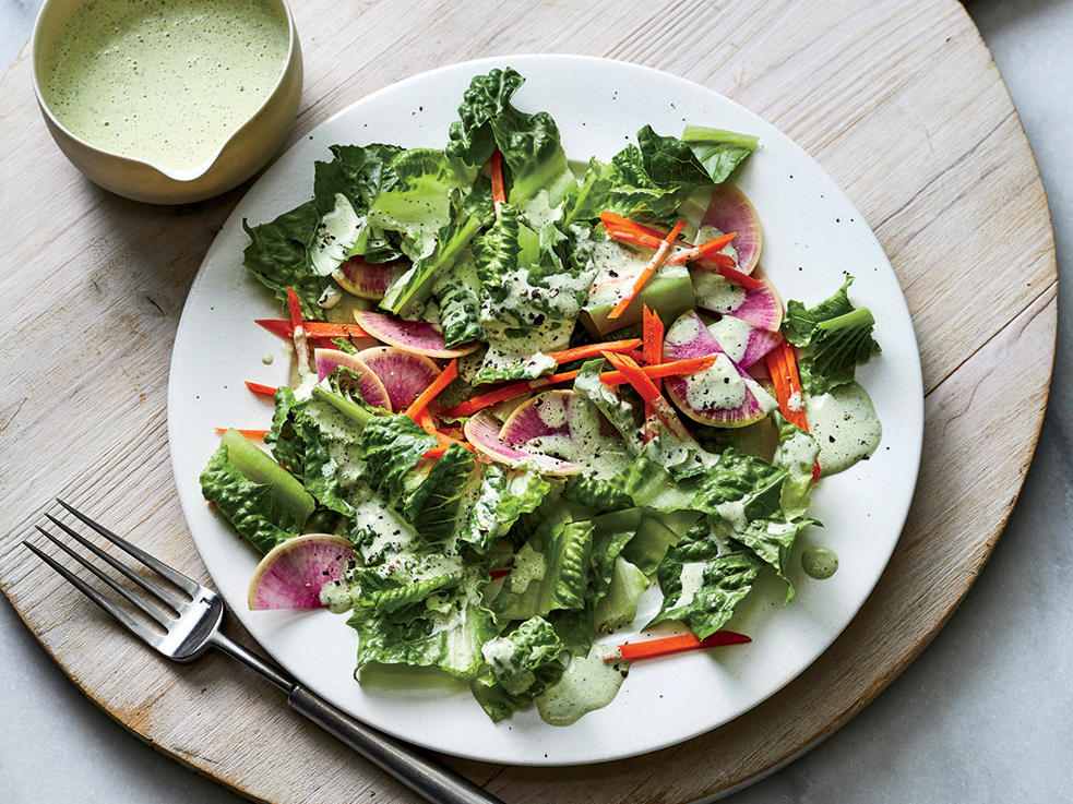 Crunchy Romaine Salad with Cilantro Ranch