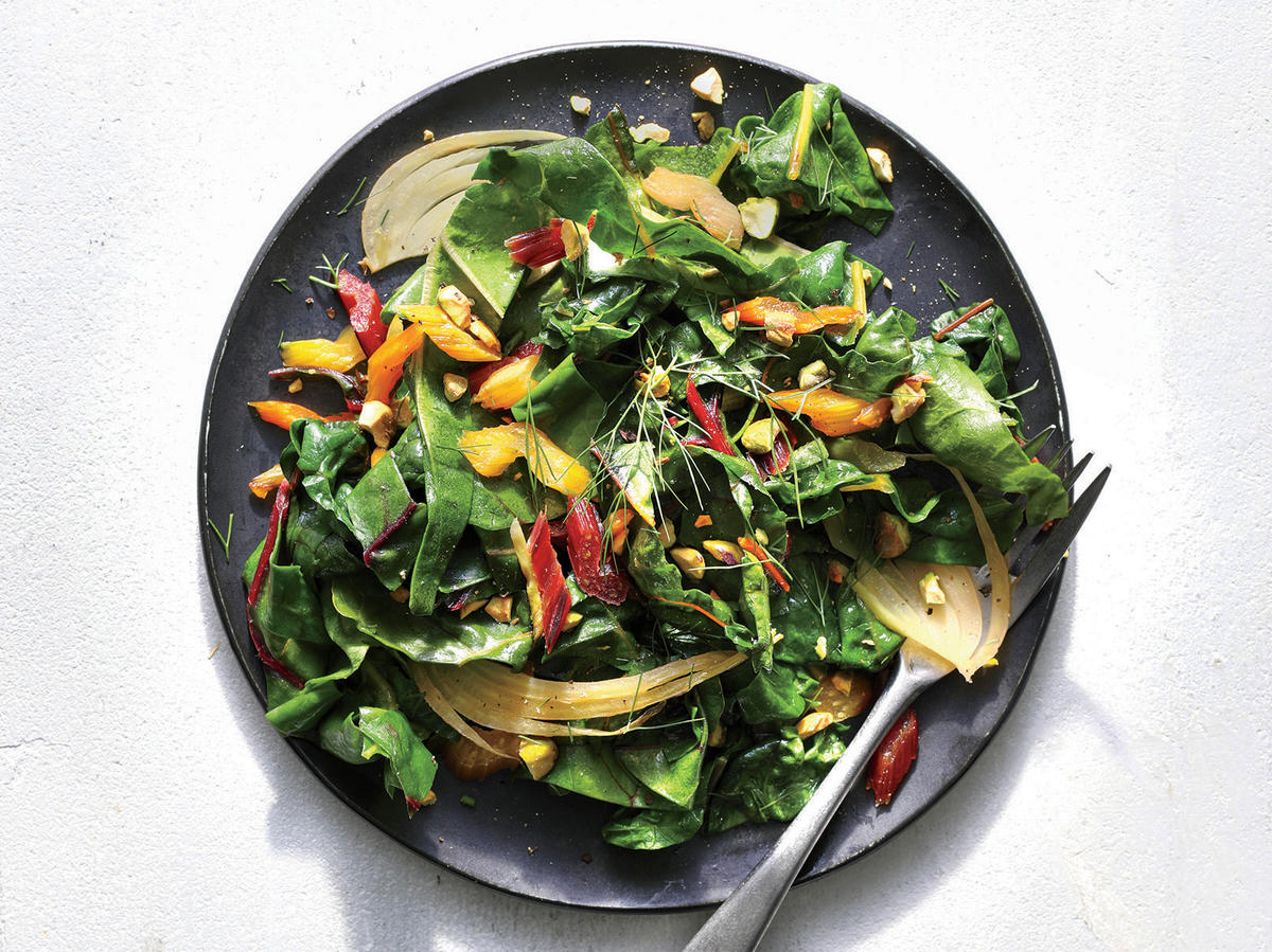 Rainbow Chard And Fennel Salad With Chopped Pistachios Recipe Cooking Light