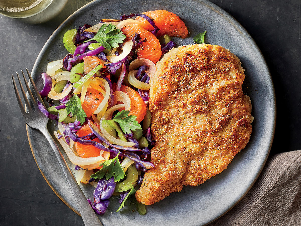 Gluten Free Chicken Schnitzel With Grapefruit Celery Slaw Recipe Cooking Light