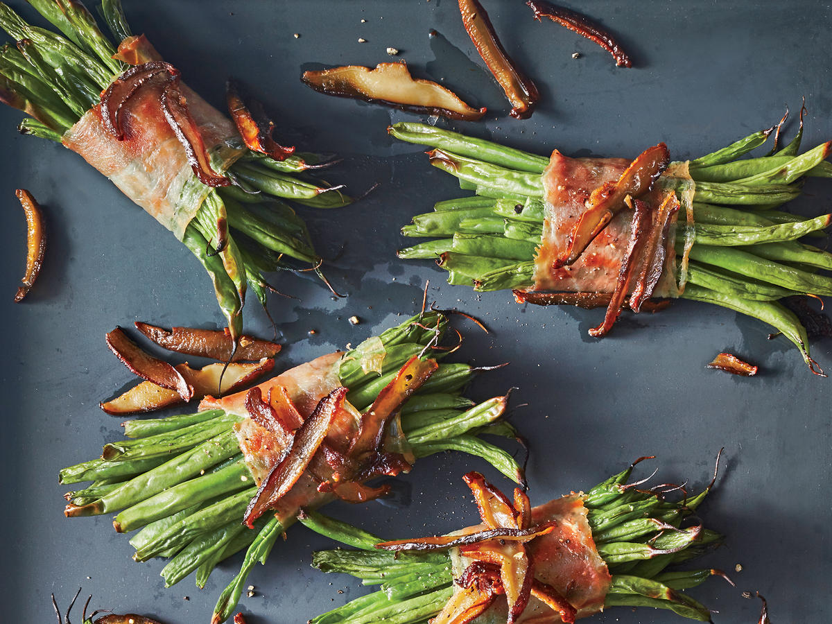 Prosciutto Green Bean Bundles with Crispy Mushrooms