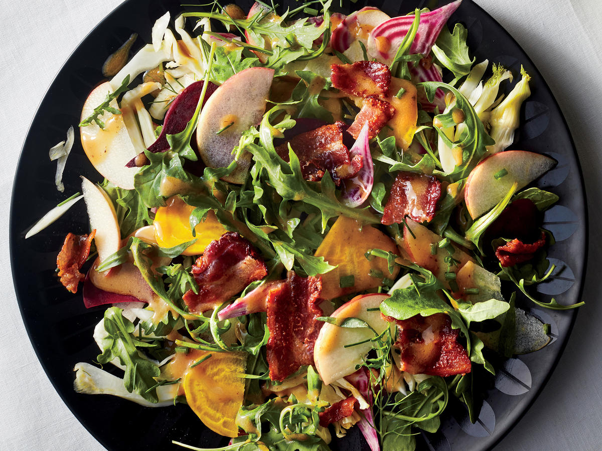 Shaved Vegetable Salad with Warm Bacon Vinaigrette