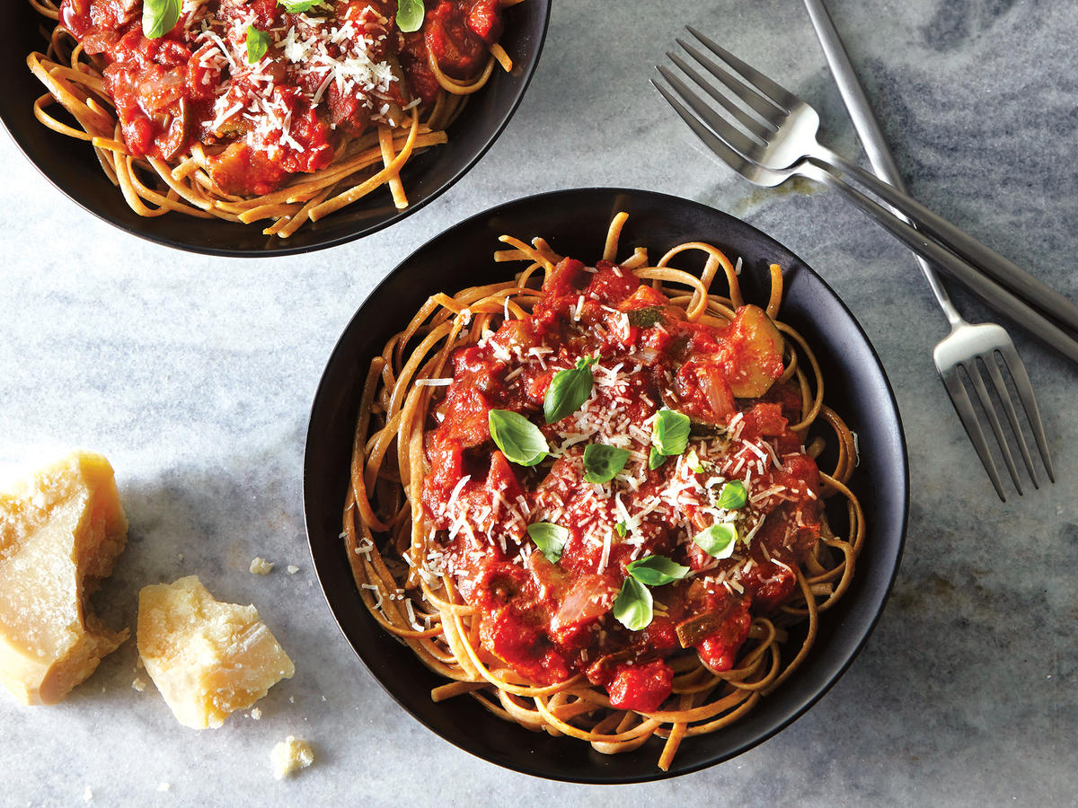 Summer Veggie Marinara Over Spaghetti