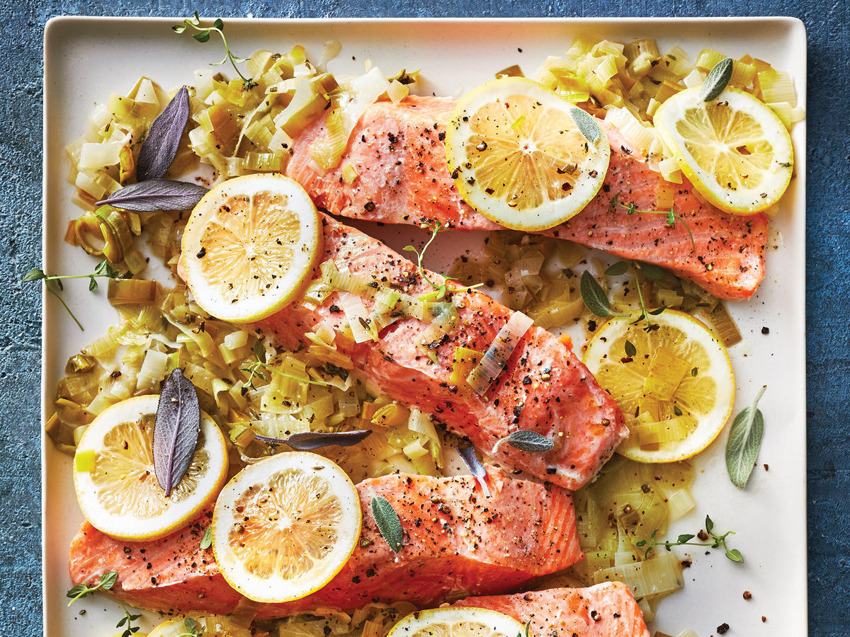 Citrus Salmon With Melted Leeks
