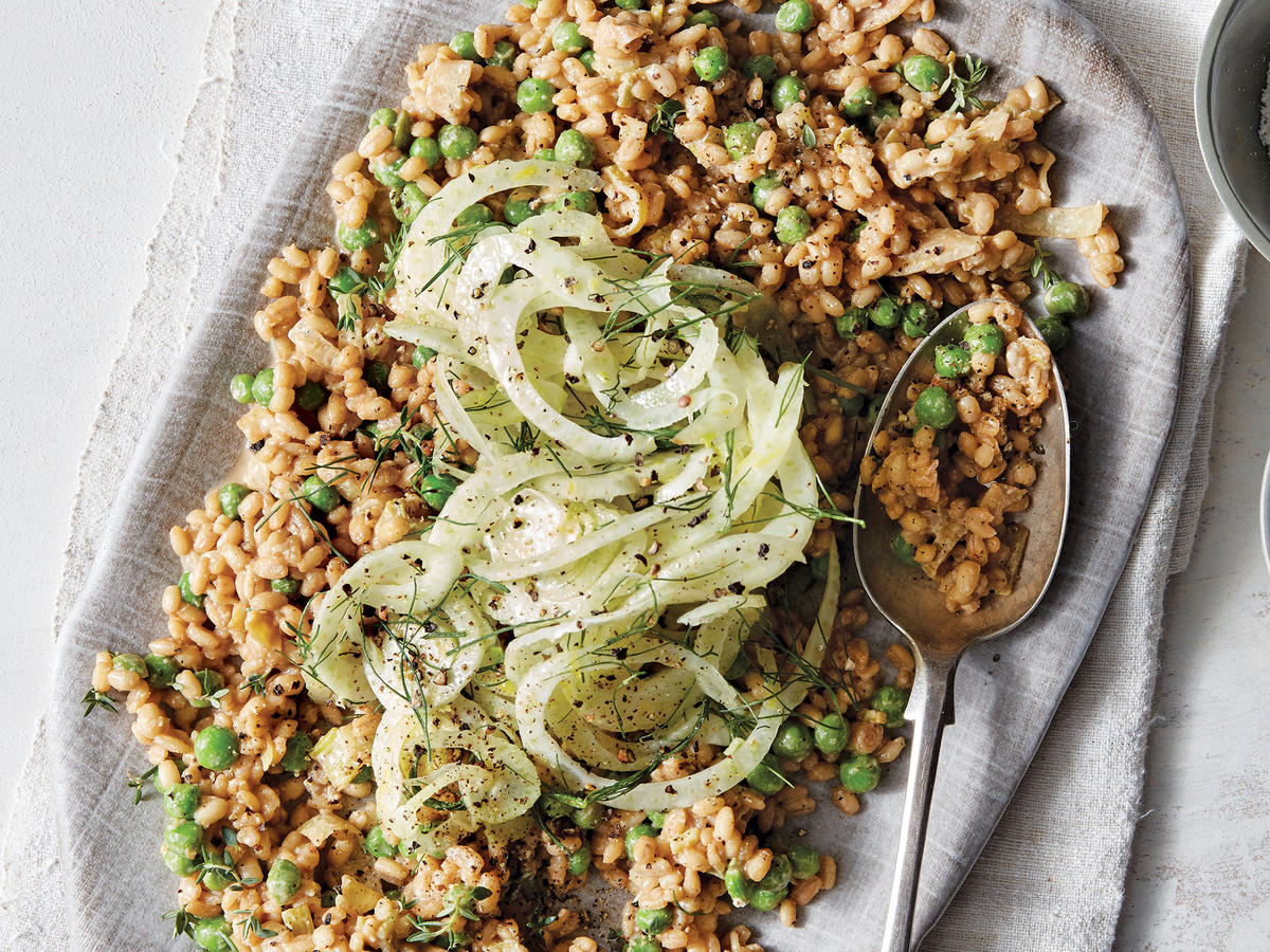 Parmesan-Pea Farro With Fennel Salad