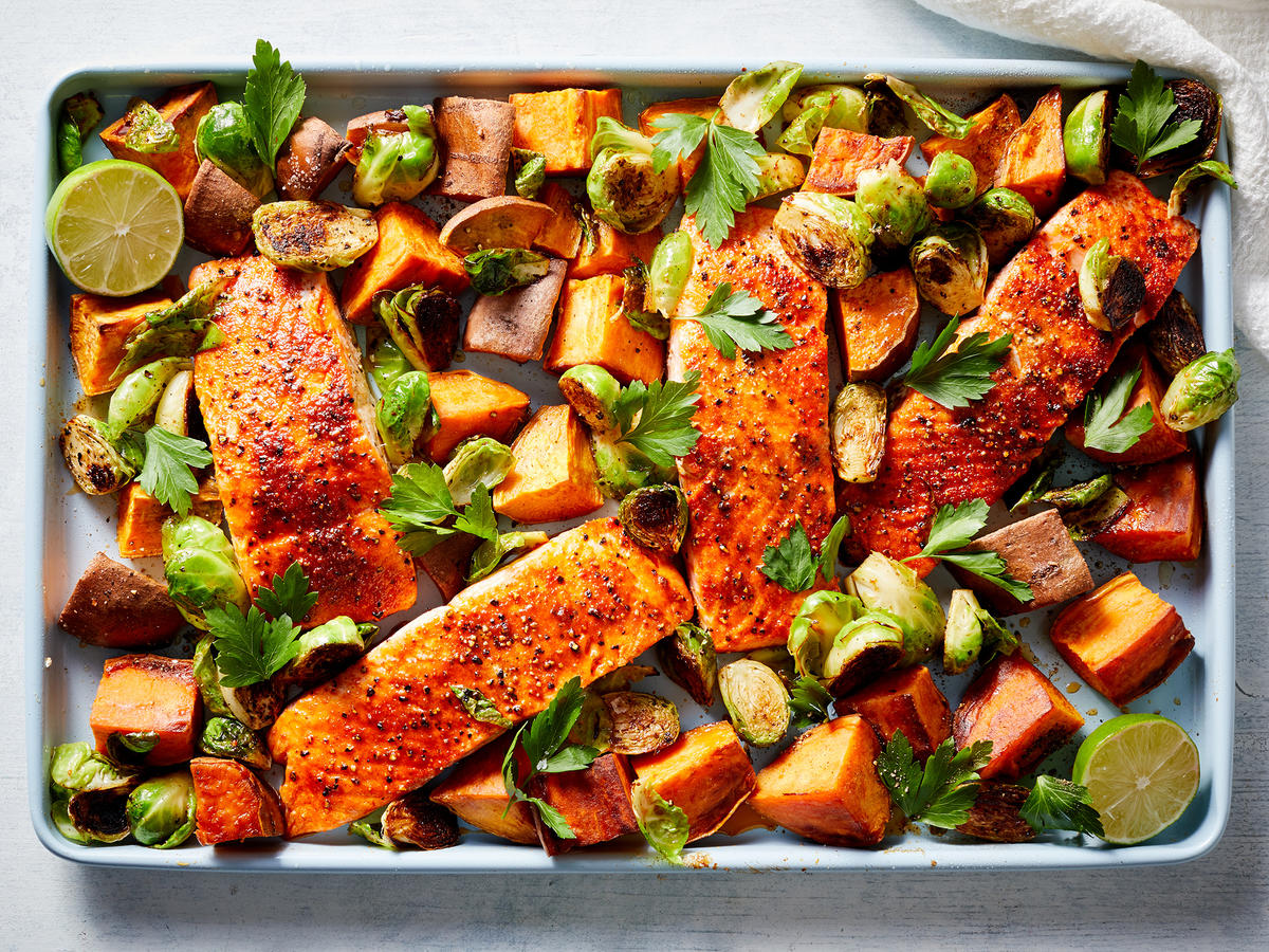 Blackened Salmon Roasted Sweet Potatoes And Brussels Sprouts Sheet Pan Dinner Recipe Cooking Light