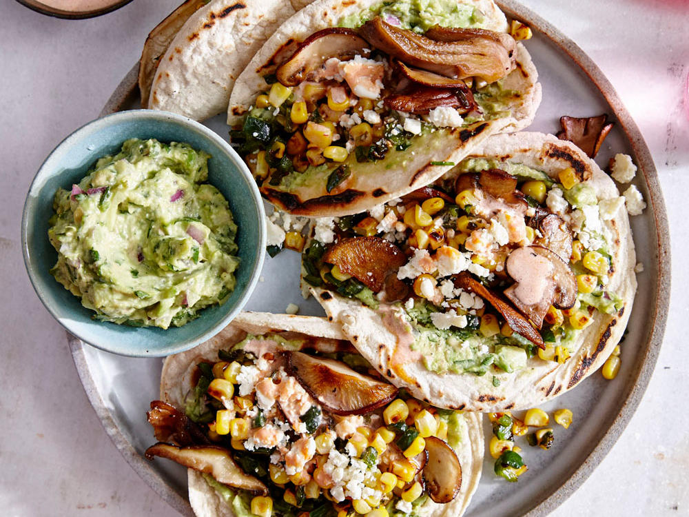 Mushroom and Charred Corn Tacos with Guacamole