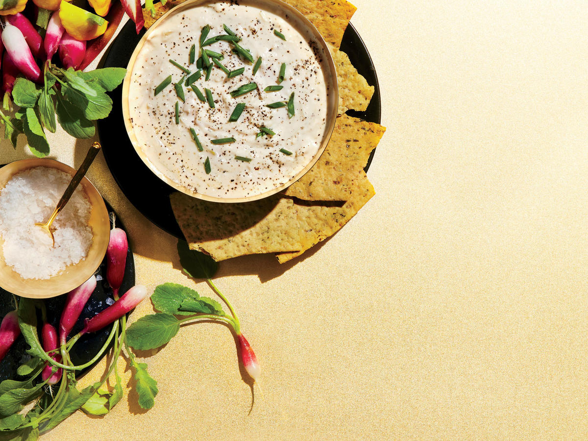 Goat Cheese Queso Dip with Vegetable Chips
