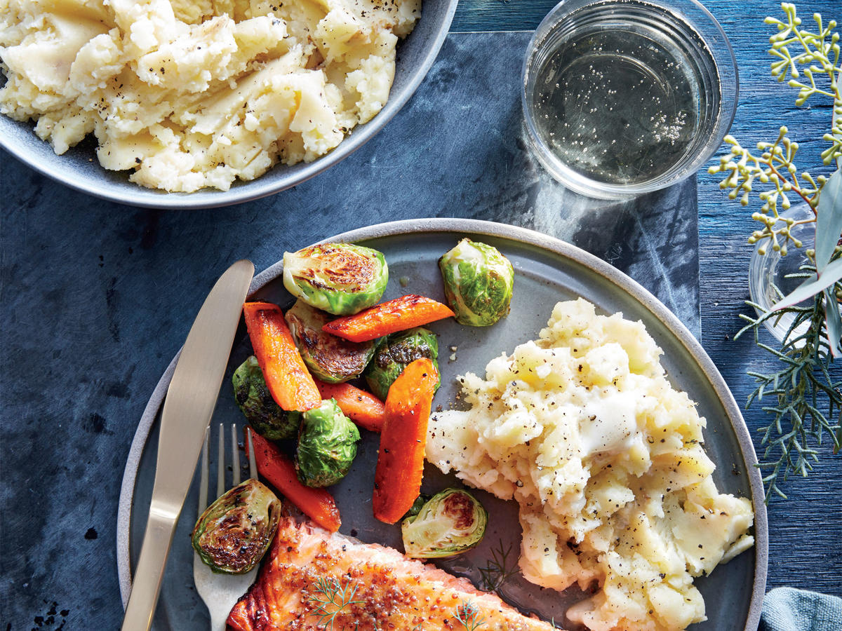 Mustard-Glazed Salmon with Horseradish Mashed Potatoes