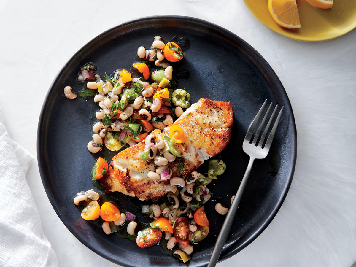 Seared Grouper With Black-Eyed Pea Relish